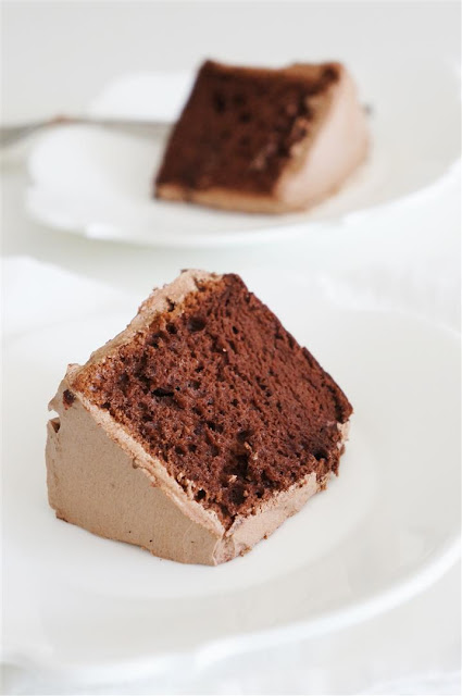 soft light airy chocolate cake with a fluffy mousse-like chocolate ...
