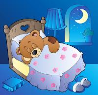 Osito enamorado durmiendo a la luz de la luna
