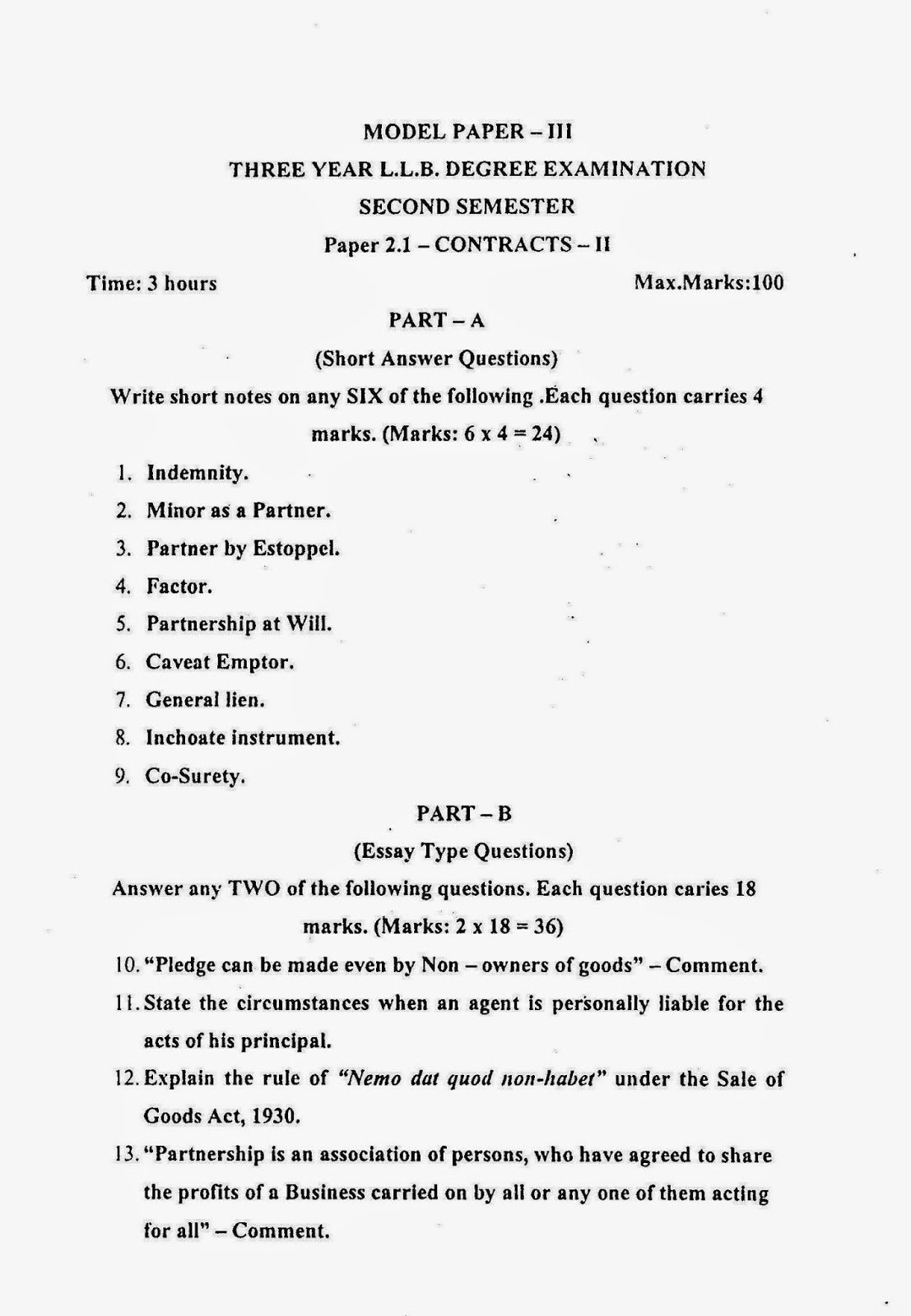 model contract law essays