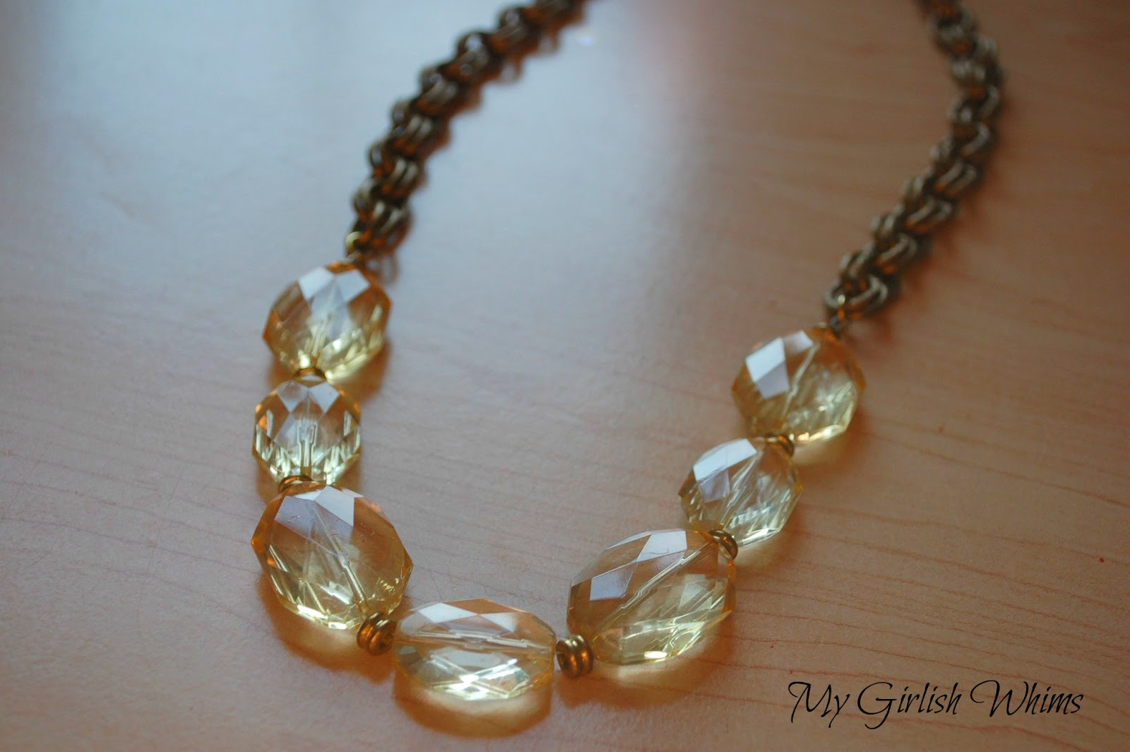 Chunky Yellow Bead & Chain Necklace - My Girlish Whims