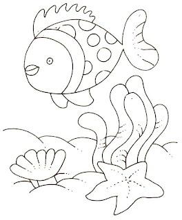 Desenhos Para Pintar O Peixe e a Estrela Do Mar