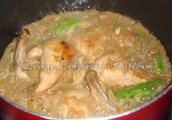 Loving bangladeshi kitchen chicken roast add 1 cup water and cook it in medium heat after 5 min add sugar and green chilli ccuart Image collections