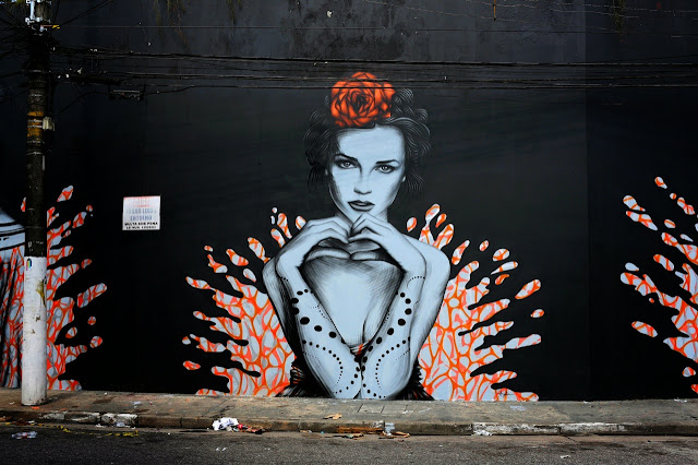 """Splash"" a new sexy street art collaboration by Fin DAC and Angelina Christina in Sao Paulo Brazil. 4"