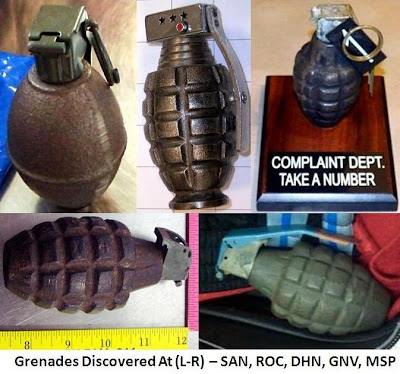 Five inert grenades were found this week at 5 different airports: St. Louis (STL), San Diego (SAN), Dothan (DHN), Minneapolis (MSP), Gainesville (GNV). A replica grenade lighter was also discovered at Rochester (ROC).