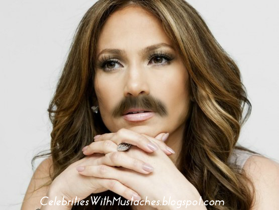American Idol's Jennifer Lopez with a Mustache.
