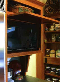 Right Hinged Countertop Microwave : WHEN THE MICROWAVE IS NEEDED, a flip-up door slides completely out of ...