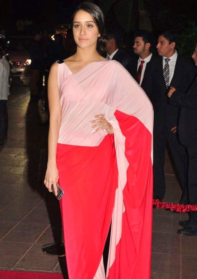 bollywood actress shraddha kapoor latest hot transparent pink saree photo