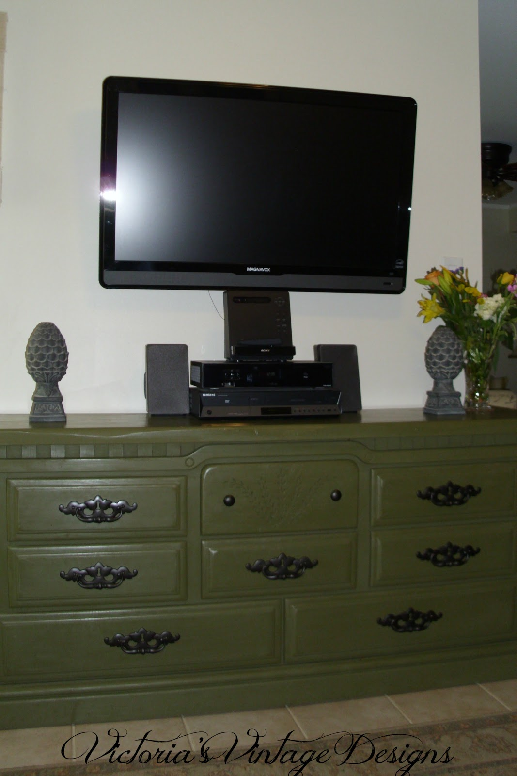This is an old dresser that I repurposed as a media cabiin my den.