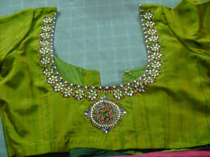 zircon stone work blouse
