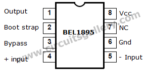 BEL1895+IC+pinout Condenser Microphone Amplifier Schematic using BEL 1895 IC