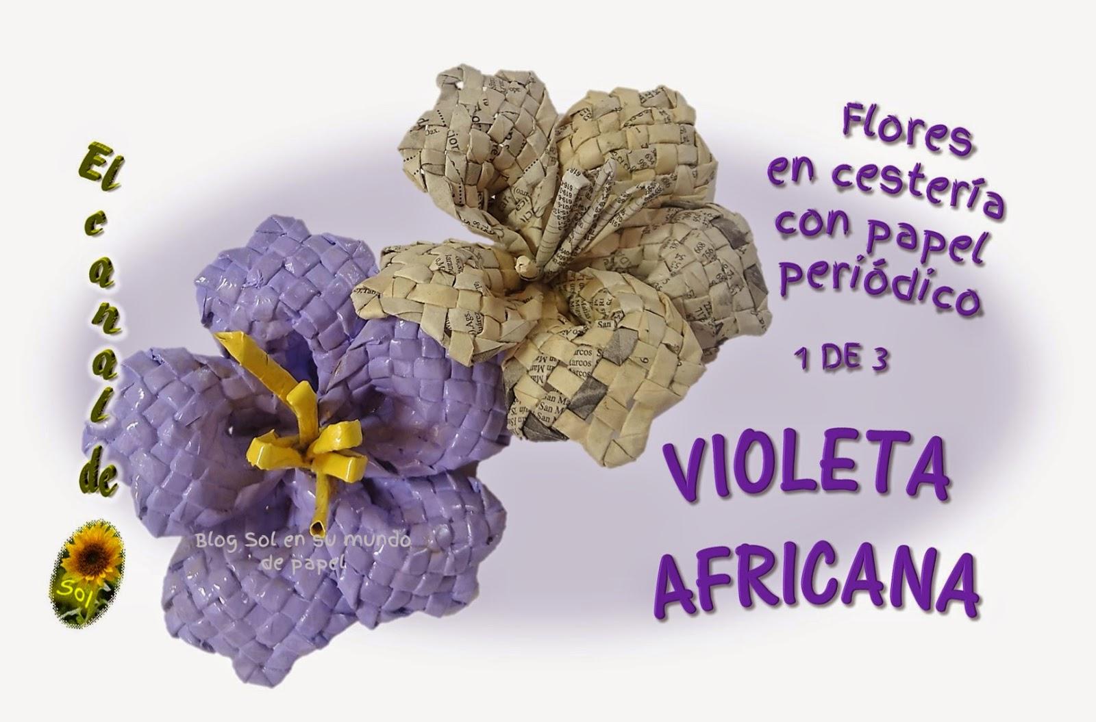 Flores en cesteria con papel peri dico violeta africana - Cesteria con papel periodico paso a paso ...