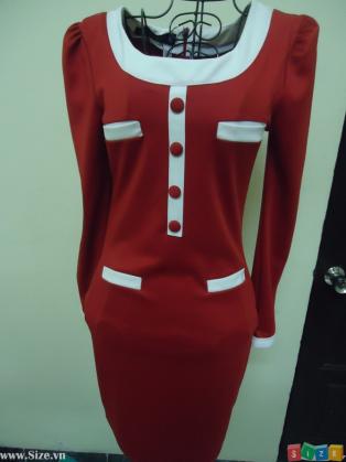 Thời trang công sở thu đông mẫu váy đỏ kết hợp với