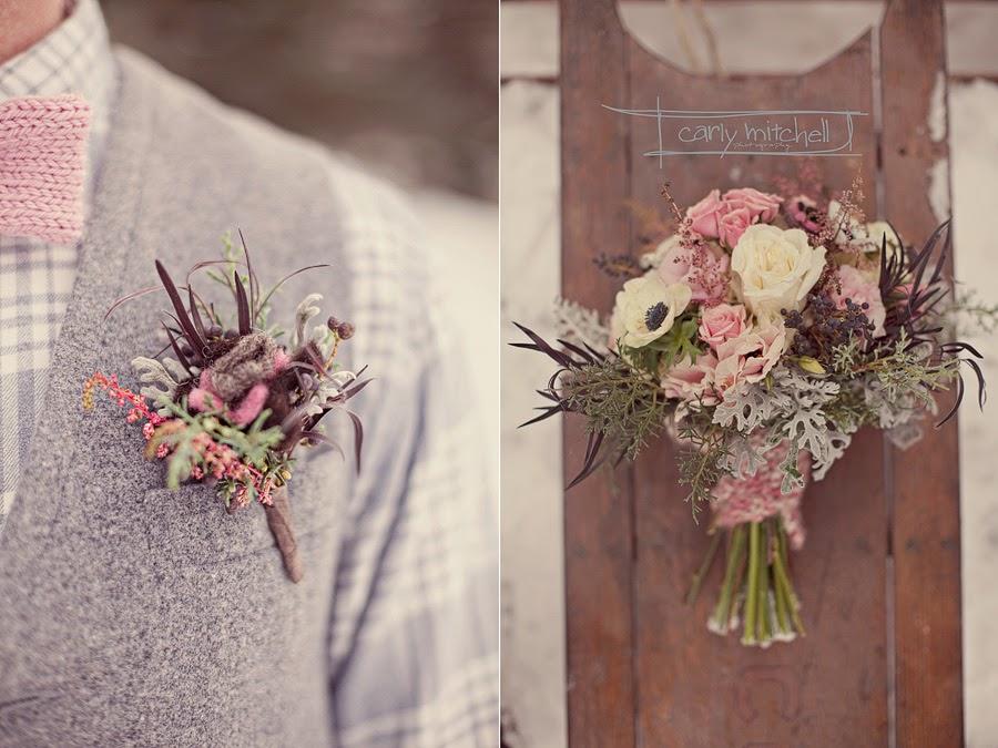 Красивая зимняя свадебная фотосессия. Фотограф Carly Mitchel