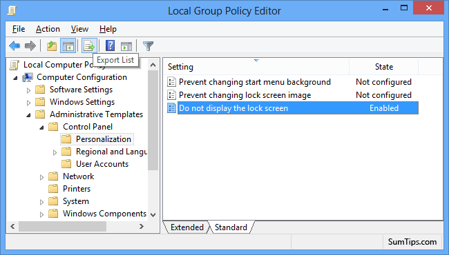 Windows 8 Local Group Policy Editor