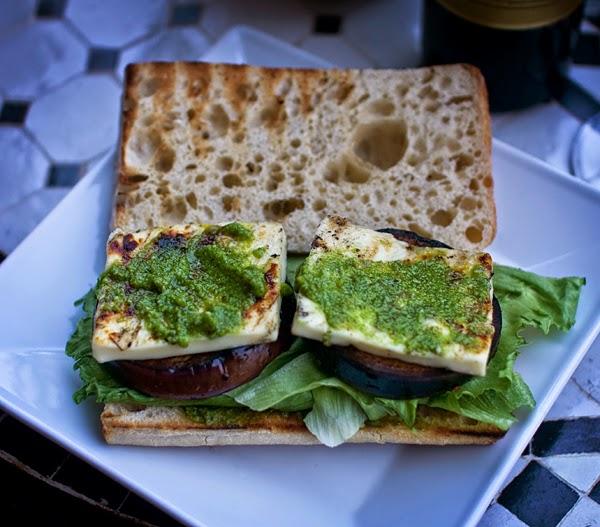Grilled Aubergine & Halloumi Sandwich