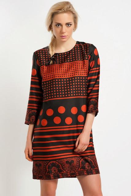 turuncu siyah kısa desenli elbise, 2014 elbise modelleri