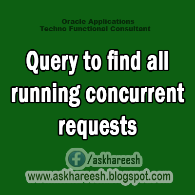 Query to find all running concurrent requests, AskHareesh blog for Oracle Apps