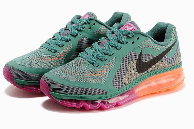 New Arrive Womens Nike Air Max   2014 Running Shoes Dark Green Orange