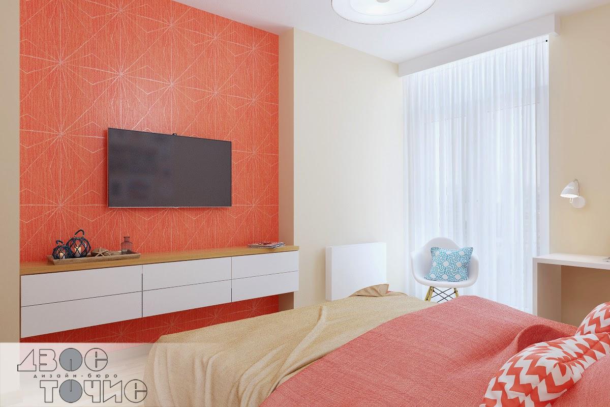 Коралловые обои в спальне