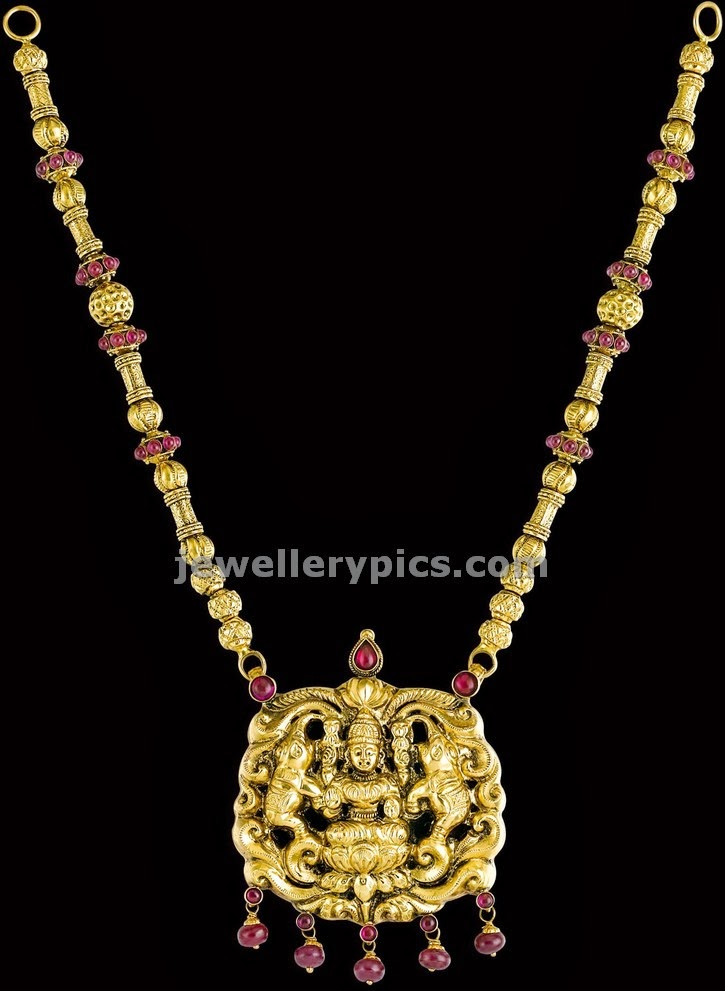 kalyan jewellers temple long pendent chain