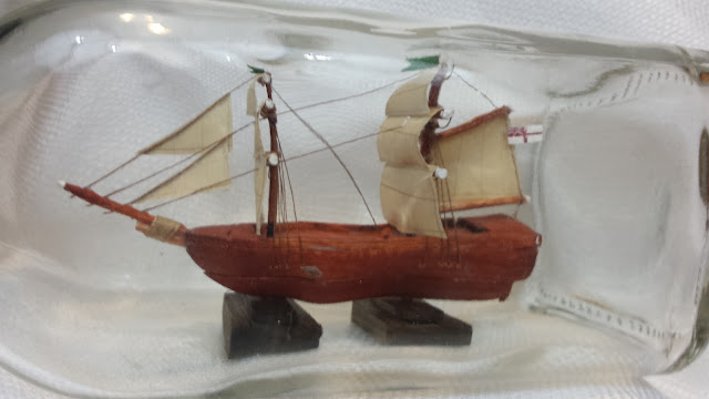 square rigged ship in a bottle
