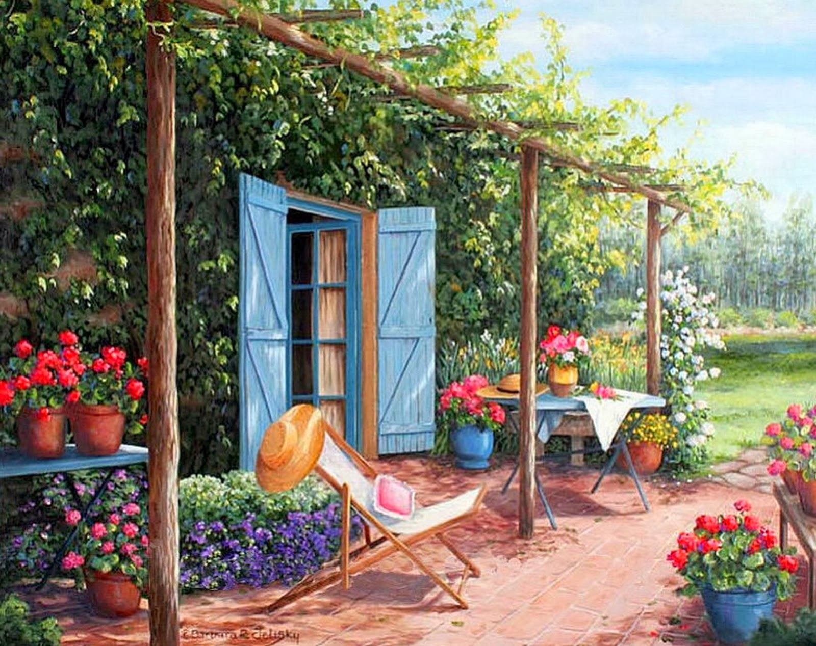 Pintura moderna y fotograf a art stica paisaje con for Jardin 7 colores bernal