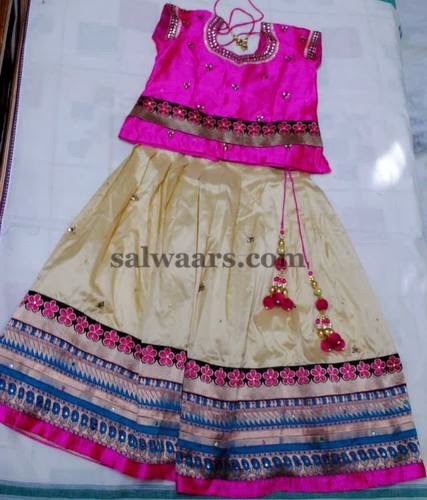 Cream Uppada Silk Kids Skirt