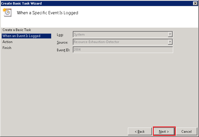 event id 2004 resource exhaustion detector windows 7