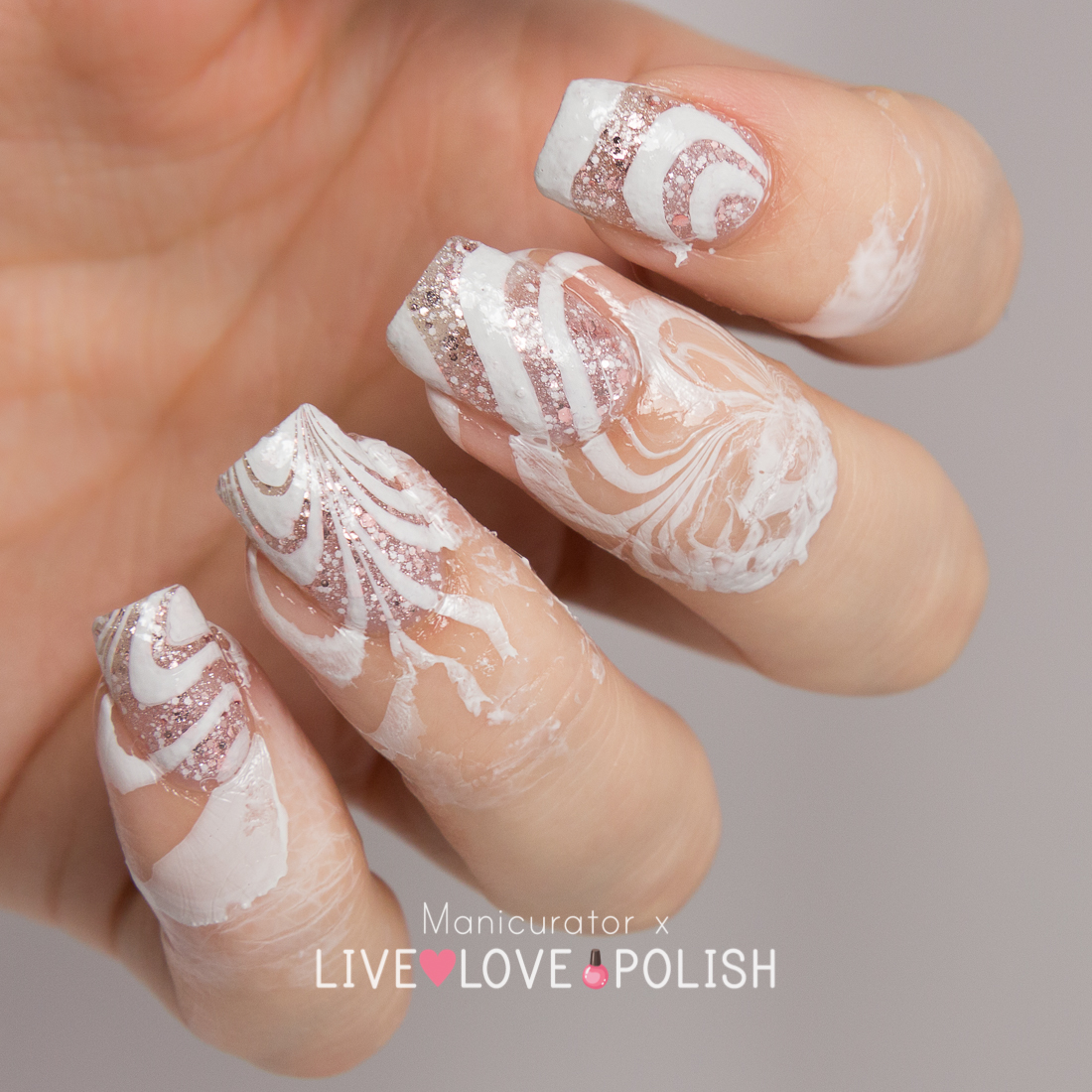 Live love polish unt sand castle swatch watermarble nail art just wanted to give you a behind the scenes look i used opi glitter off painted around the nail for easy post water marble clean up solutioingenieria Image collections
