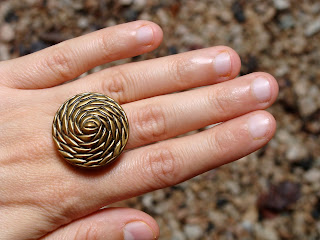 geometric rose ring in gold made from vintage button