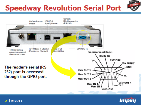 serial connections to the speedway revolution reader impinj option 1 create a serial cable that connects the gpio port on the reader to a serial device db 9
