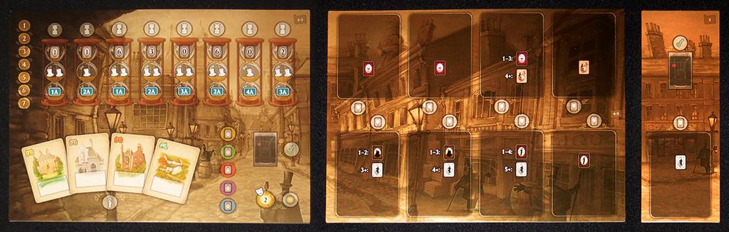Tableros centrales (planificación, oportunidades y anexo) por las caras de 4-5 jugadores