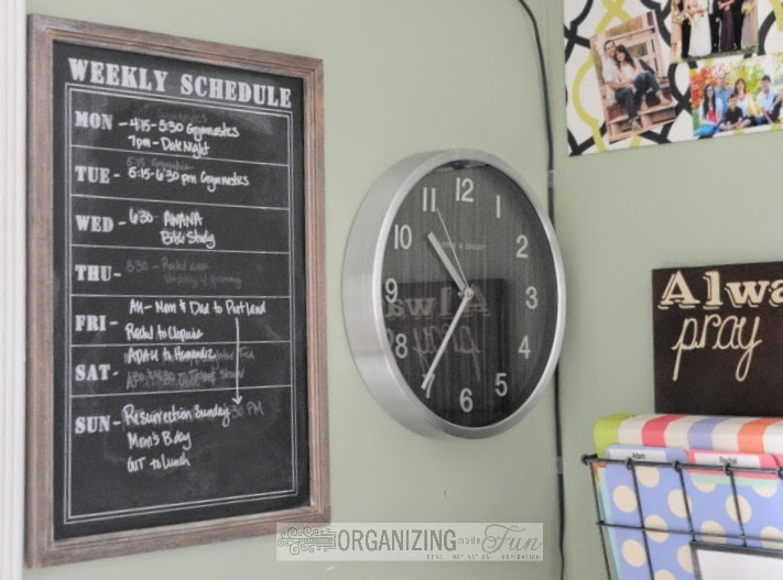 Keep a clock close by your command center to keep on time :: OrganizingMadeFun.com