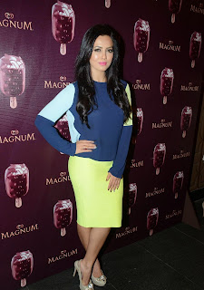 Sana Khan in Neon Skirt and Tight Blue Top at Magnum Ice Cream Flavour Launch Spicy Pics