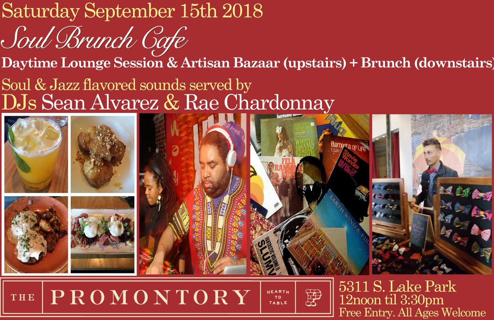 Sat Sept 15th 12noon-330pm: Soul Brunch Cafe @ The Promontory