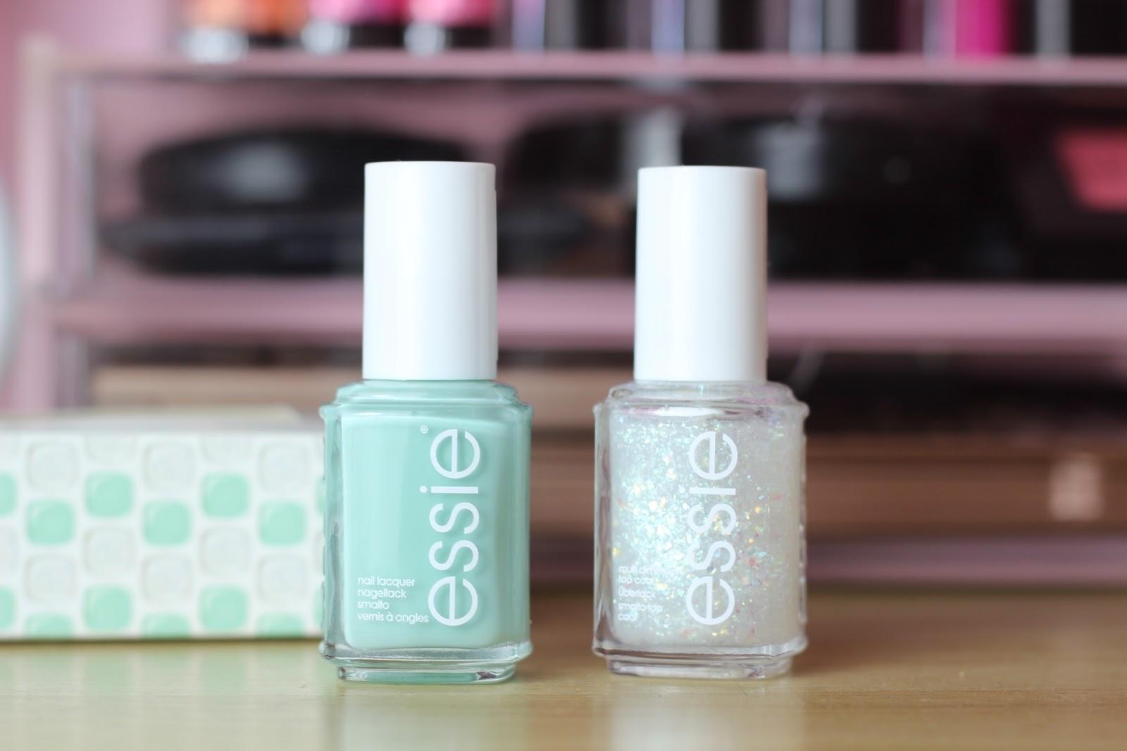 mint green polish, glitter nail polish