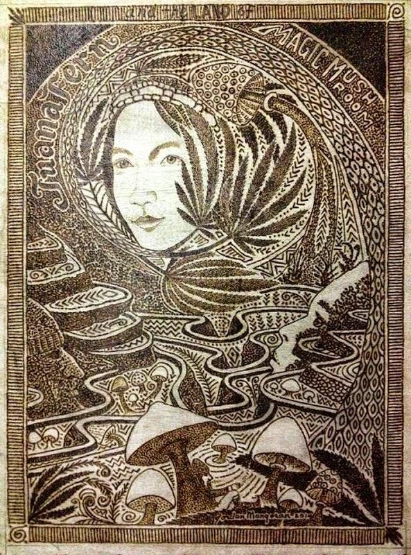 hasil karya seni dengan kaca pembesar