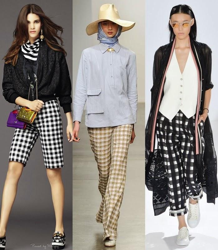 Moda - Padrão gingham, quadrados vichy,  calças aos quadrados