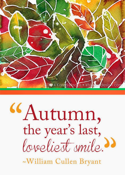 """Karen Blados"" ""William Cullen Bryant"" ""Autumn, the year's last, loveliest smile"" watercolor"