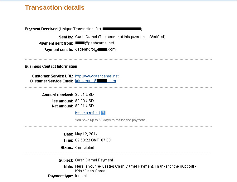 CashCamel Payment May 12, 2014
