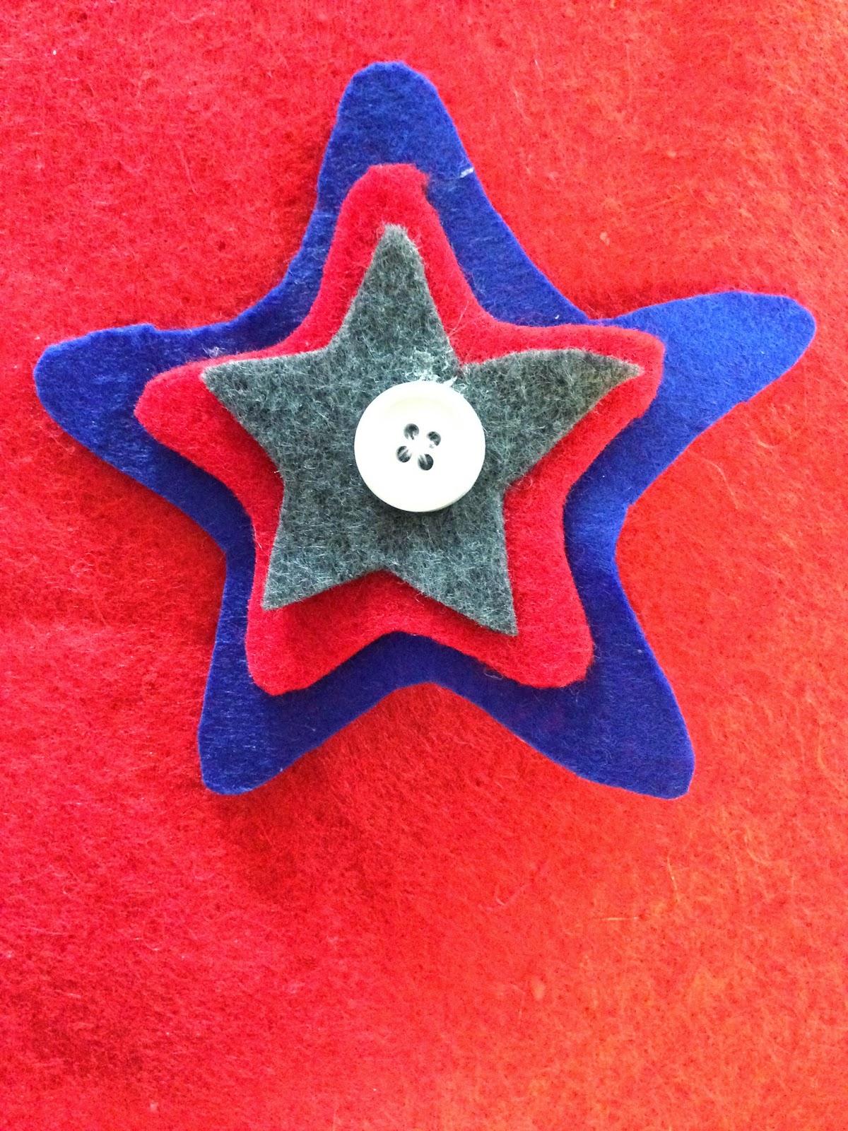 Tutorial for Patriotic Felt Star Hair Clips #tutorial #fourthofjuly #crafts #kids #hair