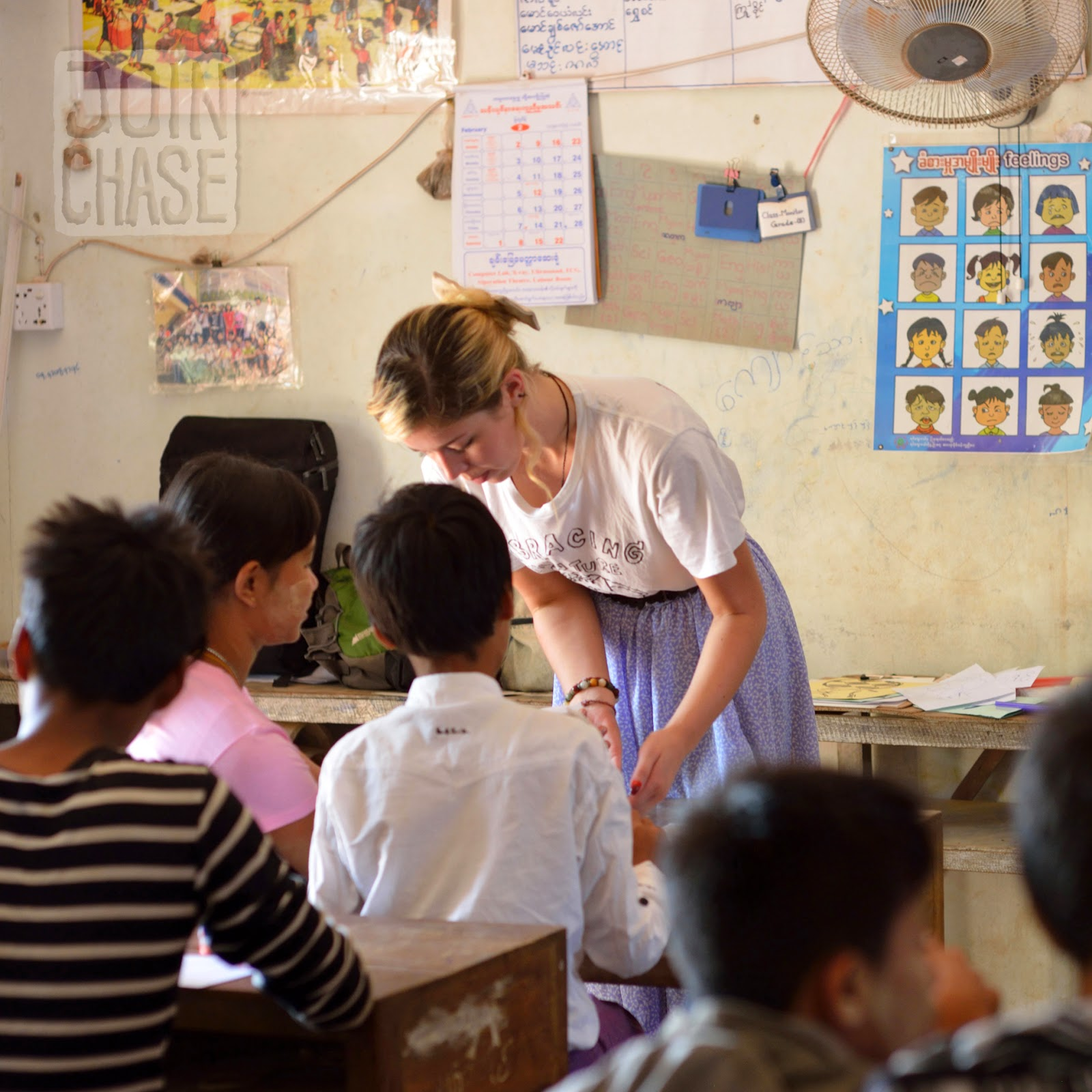 A Foreign English Teacher volunteering her time at an orphanage outside of Yangon, Myanmar.