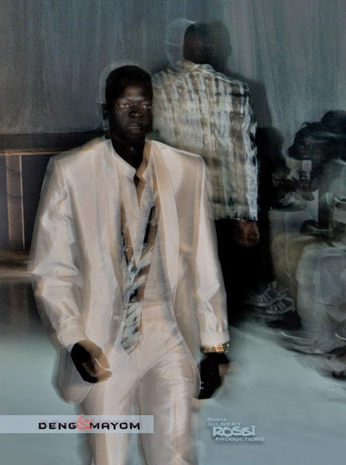 men Gilbert Rossi photographer shoots modelling portfolio, wearing silk suits or runway fashion show, male black models, sunglasses, catwalk,