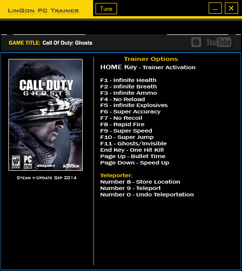 Call Of Duty Ghosts trainer games