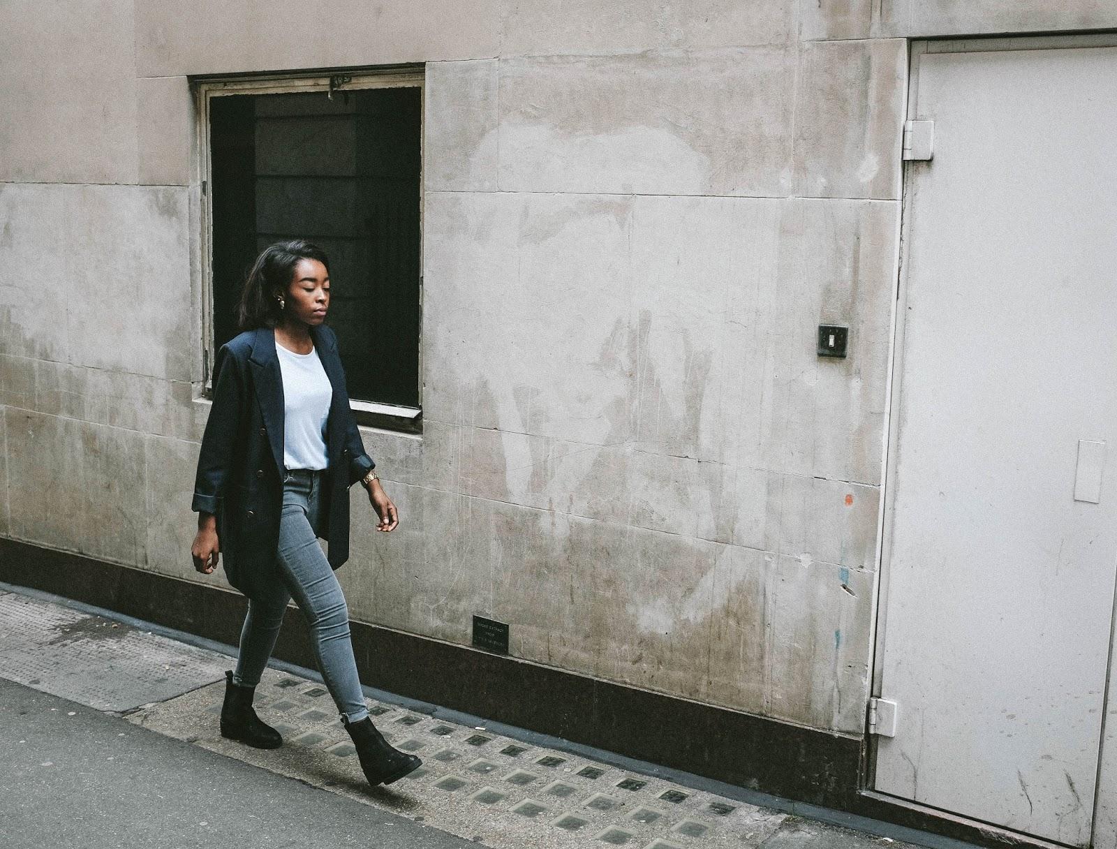 Topshop Archive Collection 2015 Power Shoulder Blazer Black Chelsea Boots Grey Skinny Jeans