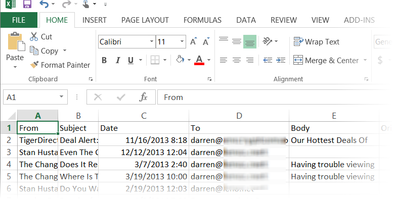 Microsoft Excel 2013 spreadsheet with email data organized into columns.
