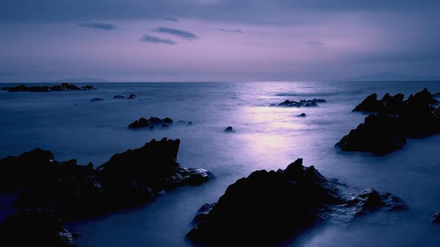 Japan Sea Coast Scenery Dusk Rocks Sky HD Wallpaper