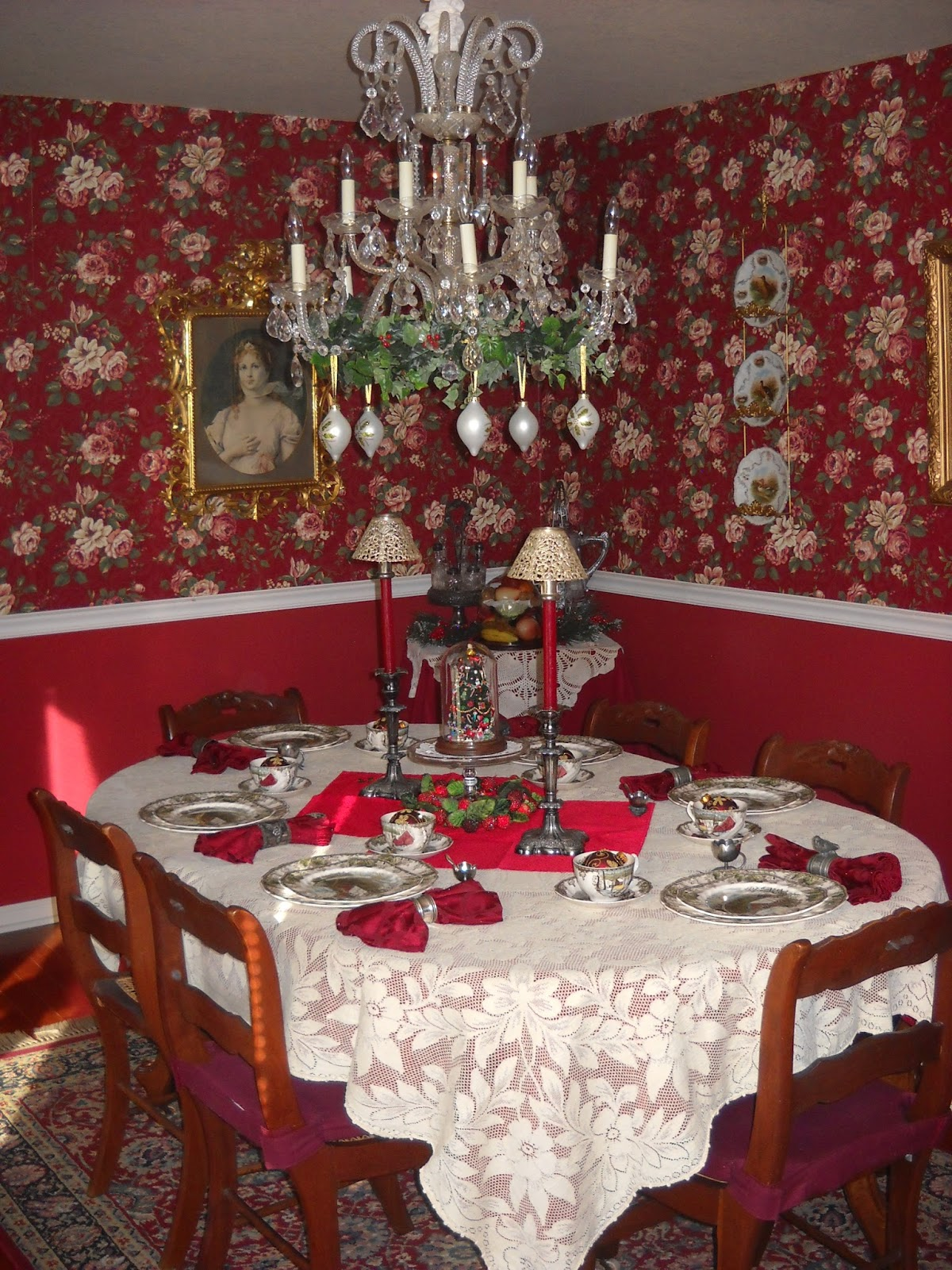 victorian wanna be christmas in the dining room this year i had fun decorating my chandelier which i did not have last christmas
