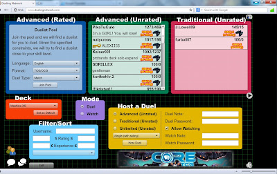 Yugioh online lobby at dueling network