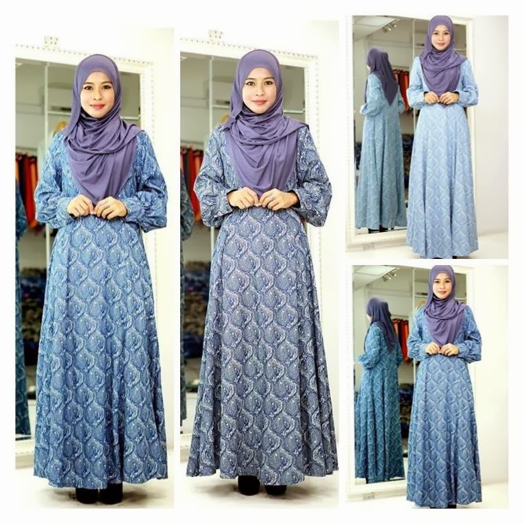 Year End Sale! Murah! Murah! Denim paisley Dress. Material Sangat Lembut & Selesa